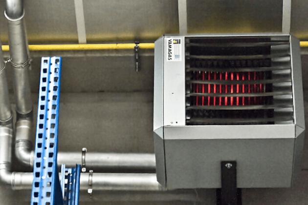 Brander op propaangas voor verwarming grote hal