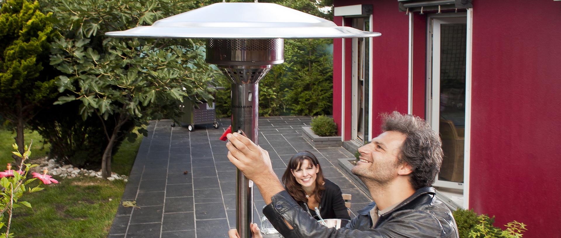 L'utilisation d'un parasol chauffant gaz
