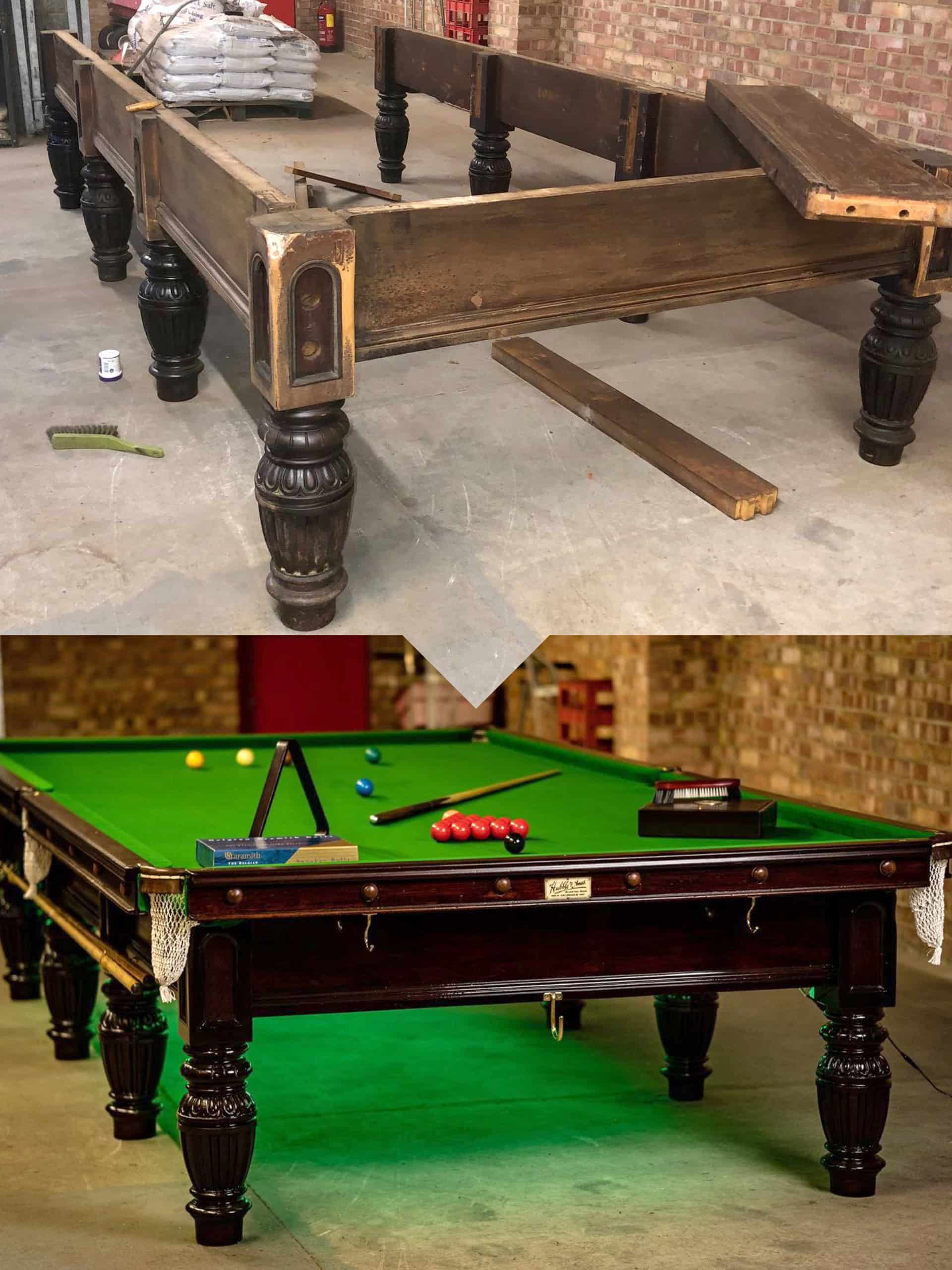 Refurbished snooker table before and after