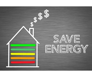 Infographic of a house with green, yellow, orange and red lines on. With Save energy written next to the house