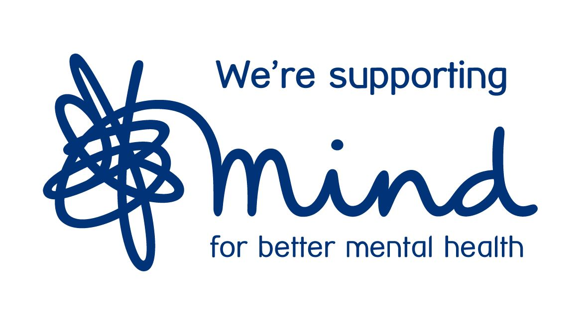 """We're supporting Mind for better mental health"" - with Mind Charity logo"