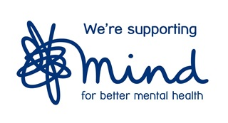 """""""We're supporting Mind for better mental health"""" - with Mind Charity logo"""