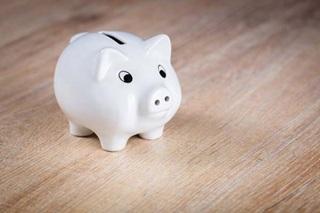 A small white piggy bank