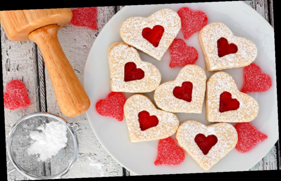Valentines Day heart shaped Linzer cookies