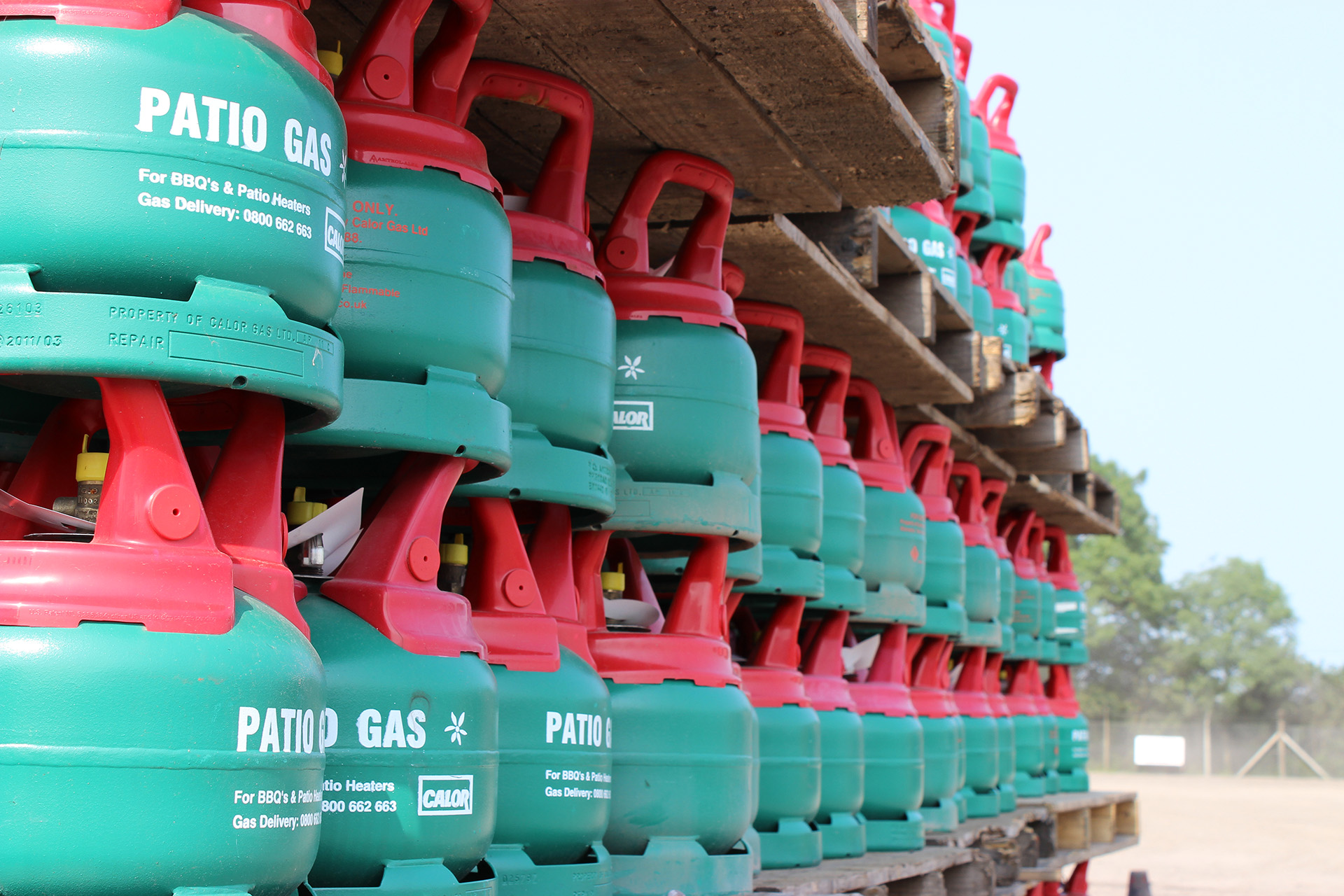 A collection of Calor patio gas bottles