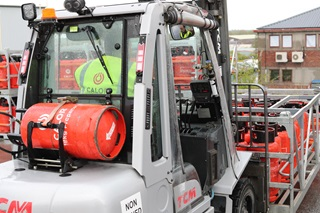 Rear view of a Calor LPG fueled Forklift truck