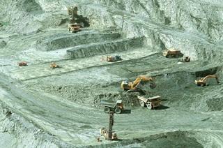 Machinery at work at aggregates environment