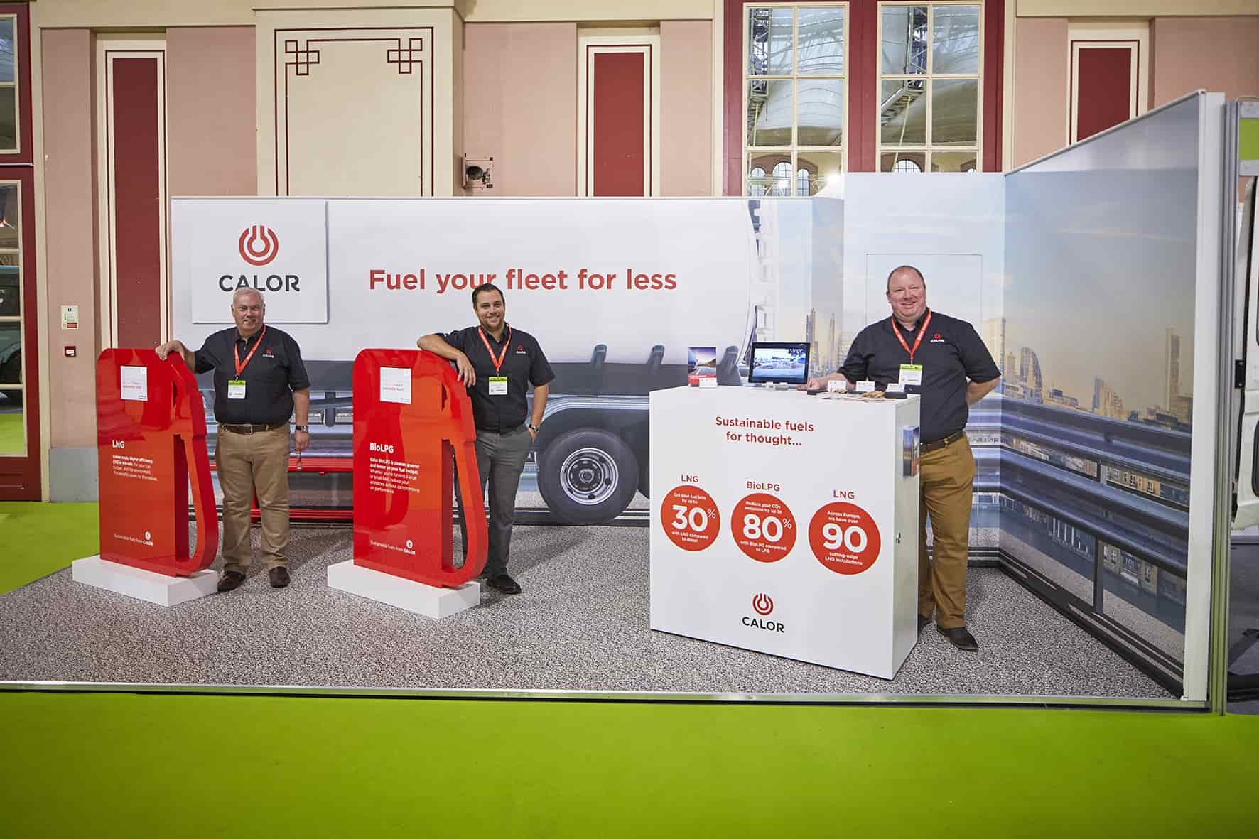A team of Calor employees at a transport show