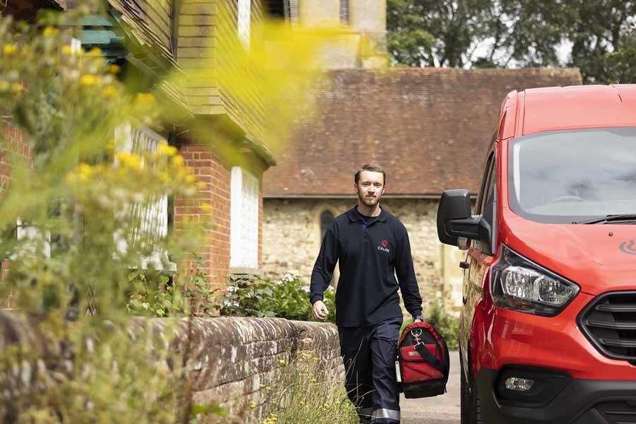 A Calor engineer walking away from his Calor van