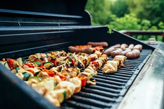 Gas BBQ cooking food