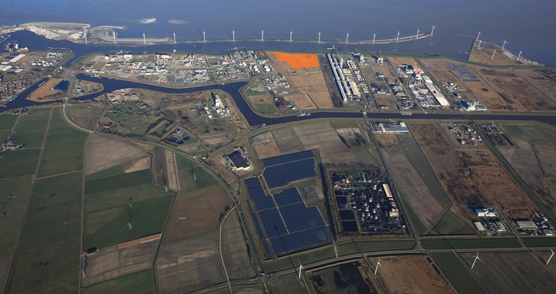 Helicopter view of Delfzijl, The Netherlands